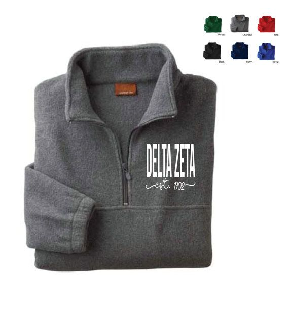 Delta Zeta // DZ // Sorority Embroidered Fleece Quarter Zip