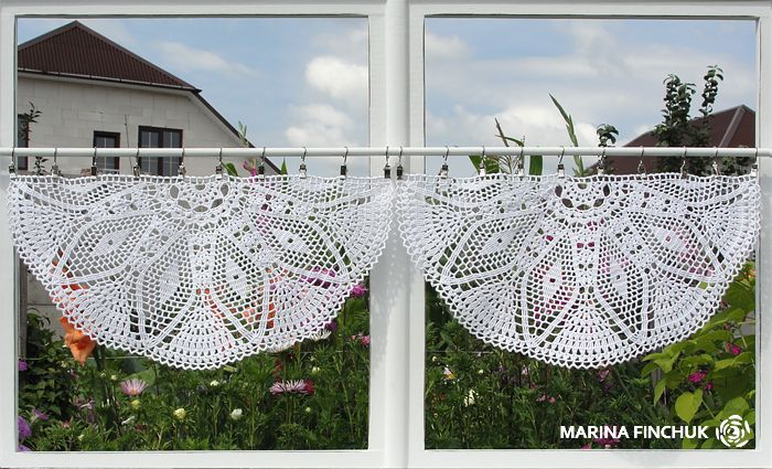 Шторки-zazdrostki «Георгина», crochet-curtains