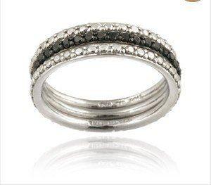 argento 925 diamante nero accento impilabile SE eternità band anelli