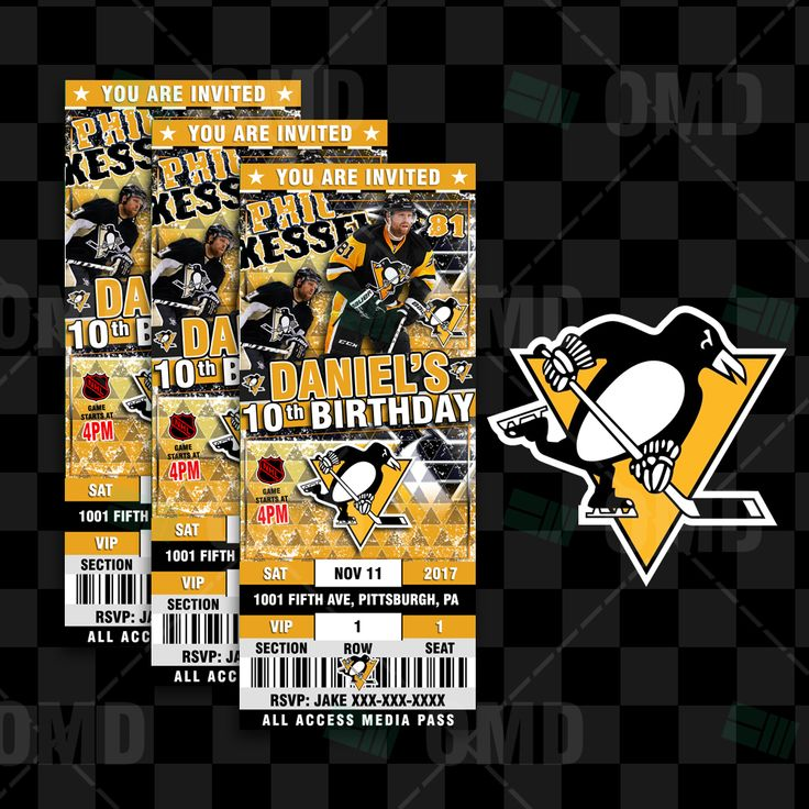 Custom Pittsburgh Penguins Ticket Style Sports Party Invitations