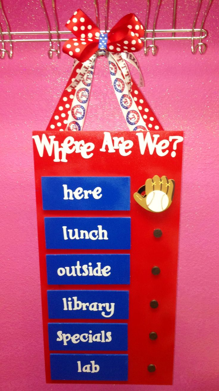 """Where are we?"" Texas Rangers Baseball Classroom Sign"