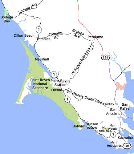 Highway One through Marin County: Sausalito to Bodega Bay California Highway One North of San Francisco Distance: 58 miles | Driving Time: 2 hours or more