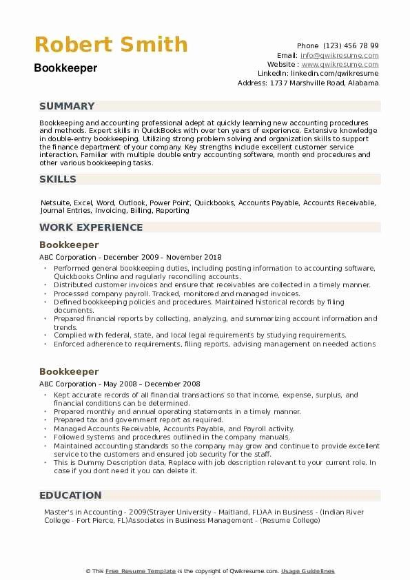 Bookkeeper Resume With Quickbooks Experience Luxury Bookkeeper Resume Samples Job Resume Samples Quickbooks Good Resume Examples