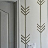 A Wallpaper-less Patterned Wall  ... The Arrow Points Down ... she taped off the pattern, painted over it and made a really great wall design without wallpapering ............. #DIY #walls #paint #maskingtape #wallpaper #remodel #decor #crafts