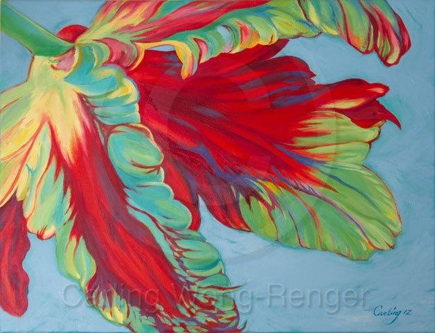 Red Flame Parrot Tulip - Oil Painting    via http://carlingwongrenger.com