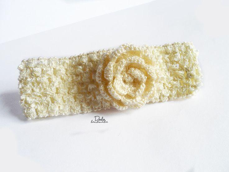 Azurowa opaska z różą kremową - DodoHandmade - Opaski do włosów dla dzieci