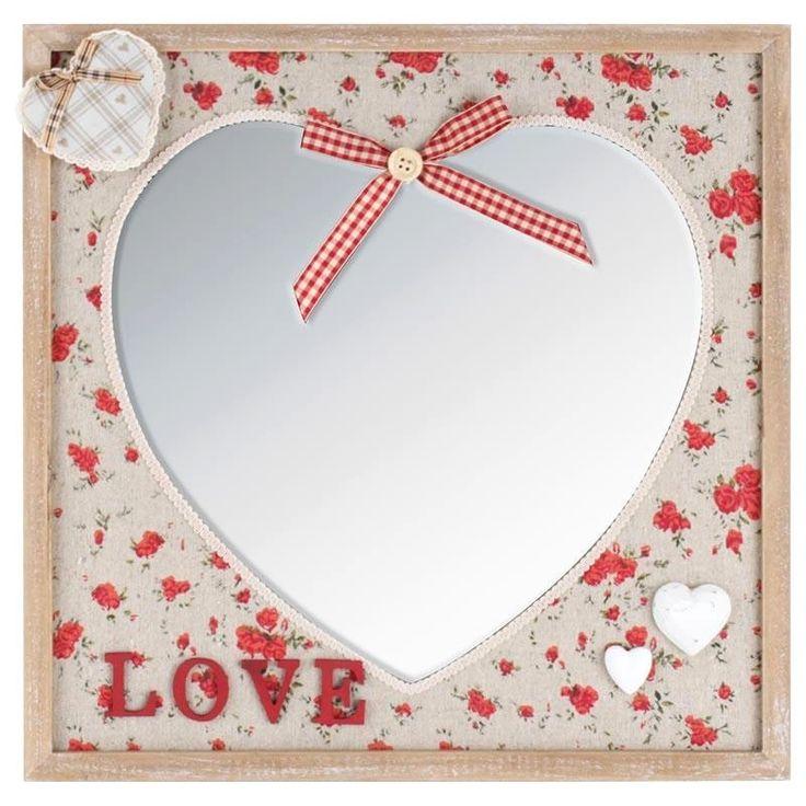 Καθρέπτης ξύλινος , με υφασμάτινη καρδιά.