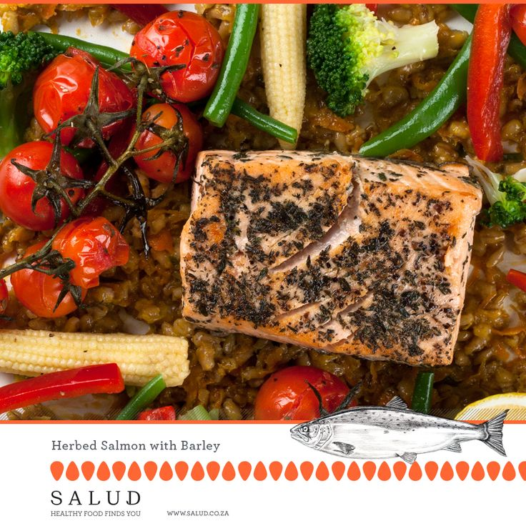 Herbed Salmon with Barley   Healthy prepared take home meals delivered to you.   www.salud.co.za