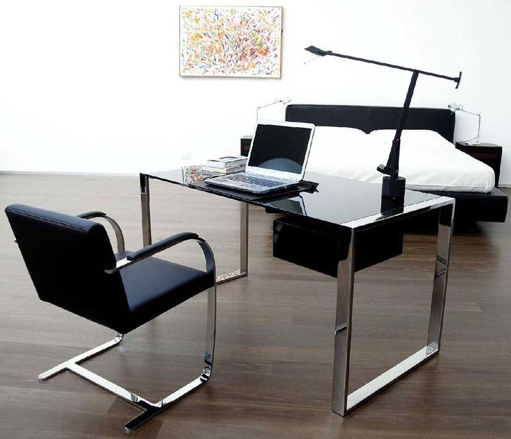 50 Elegant Desk Designs For Home Office With Office Computer Desk Design  Freestanding Elegant Chrome Base Black Glass Top Rectangle