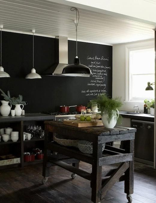 Chalkboard backsplash kitchen dining pinterest for Chalkboard paint ideas for kitchen