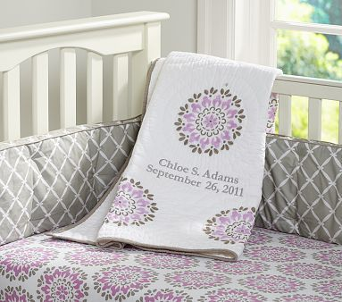 Dahlia Nursery Bedding on potterybarnkids.com./love pink but,purple and grey look great too:)