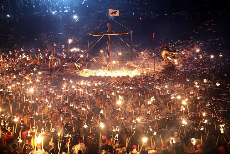 Up Helly Aa is a legendary viking festival that takes place in Scotland every year, and Tuesday's procession was epic as ever. Realistic armoured costumes, group chanting, and a full-on ship burning was only the beginning of a night filled with drinking, dancing and... Well, more drinking.