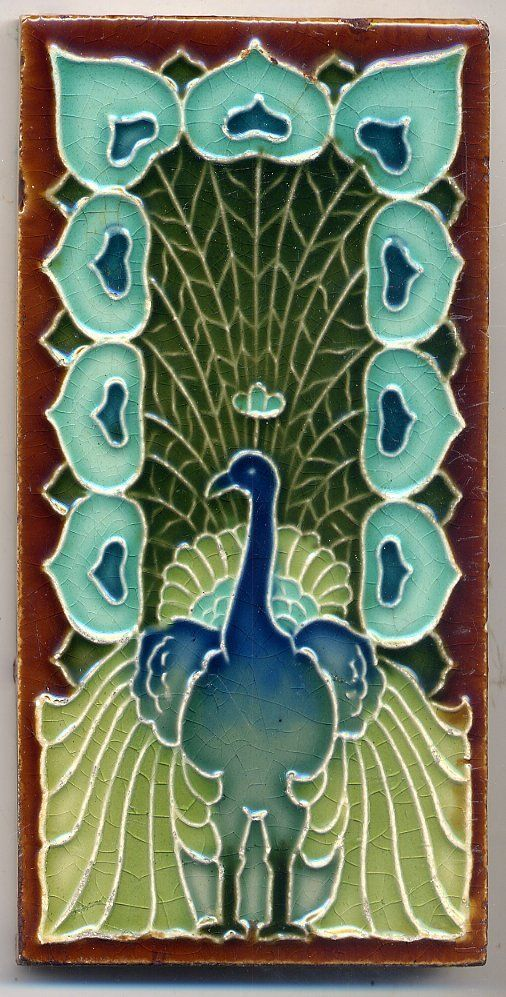 Rare beautiful Mintons China Works peacock art nouveau tile