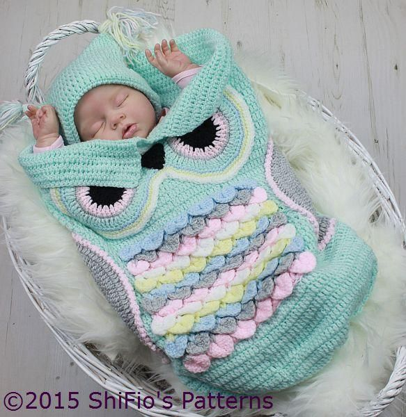 Bundle Baby in a darling owl cocoon set that features unique crocodile stitches across the front.Size: Includes Preemie through 6 months for both the cocoon and hat. Made with light (DK) weight yarn and size E/4/3.5mm hook.