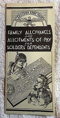 WWII 1944 Family Allowances & Allotments Of Pay For Soldiers Dependents Pamphlet