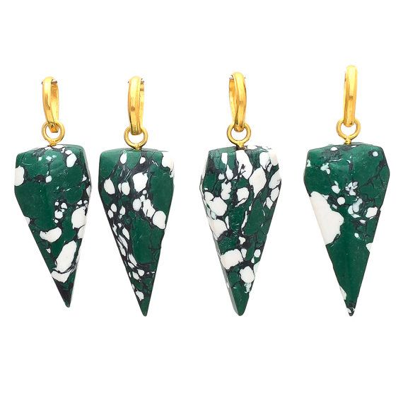 Shark Tooth Shape White and Green Turquoise  by GEMSTONEEXPORTERS