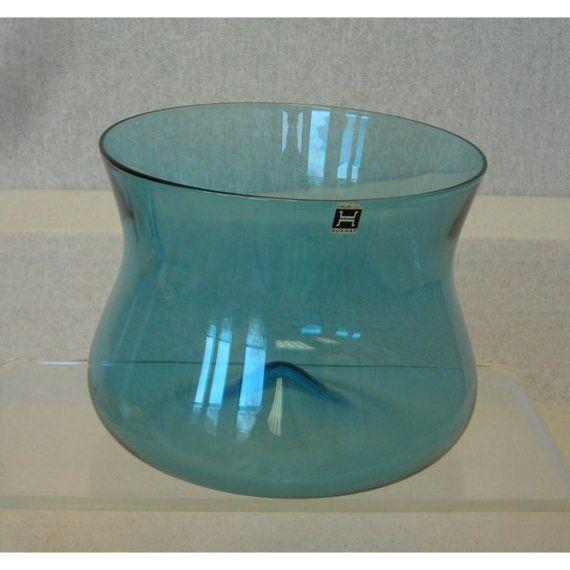 Vintage Blue Hand Blown Glass Bowl/Norway Hadeland Glassverks/Retro 1970s