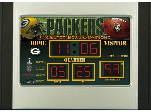 NFL Scoreboard Desk & Alarm Clocks  http://allstarsportsfan.com/product/nfl-scoreboard-desk-alarm-clocks/?attribute_pa_color=multi  Measures 9.5″ x 6.5″ x 3.5″ Offcially licensed by the NFL