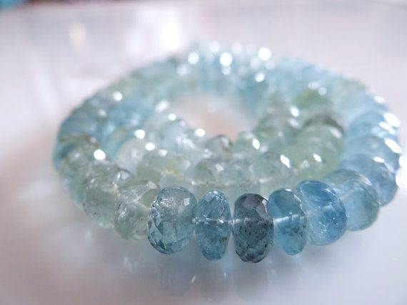 Natural Shaded Blue Moss Aquamarine Faceted Rondelles