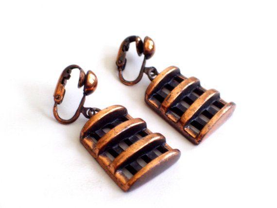 Rebajes Earrings Industrial Copper Earrings by TheCopperCat