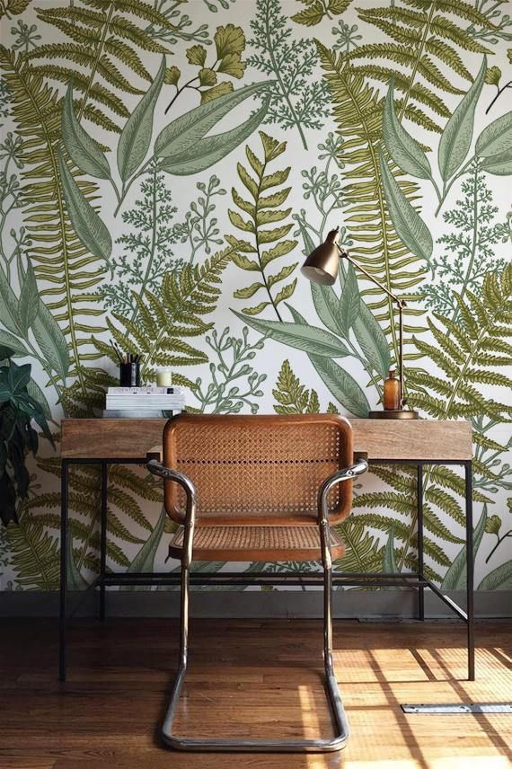 Transform Your Plain Walls Into A Painterly Masterpiece With Our Romantic Selfadhesive Wallpaper This Lovely Green Home Decor Wall Murals Diy Fern Wallpaper