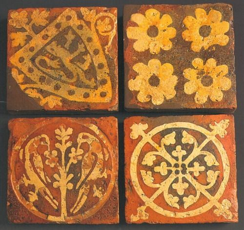 "effervescentaardvark:  Inlaid tiles from Tintern Abbey, dating from the later 13th century.source: ""Builders and Decorators: Medieval Craftesmen in Wales""  CADW, 2008. ISBN 9781857602524"