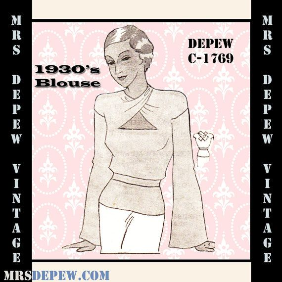 Vintage Sewing Pattern 1930's Wrap Neck Blouse in Any by Mrsdepew