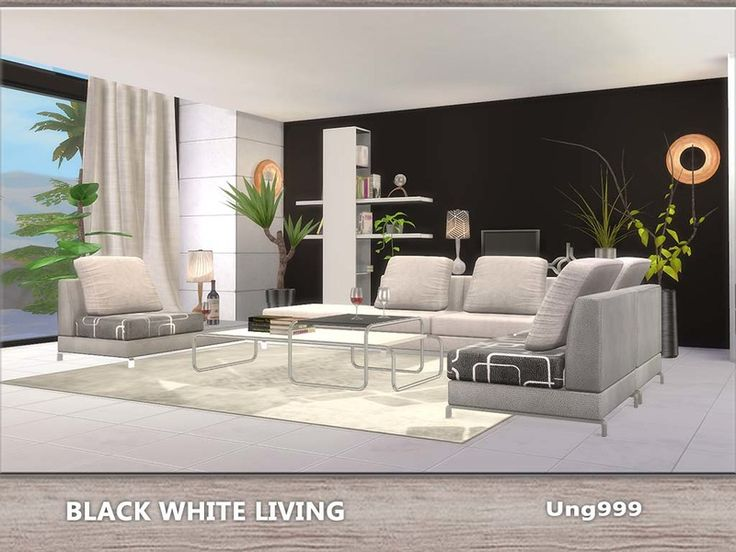 Created By Black White Living Created For: The Sims 4 13 Items Come With  This Modern Living Room Set, They Are: 2 Living Chairs, One Linked With A  Small ...