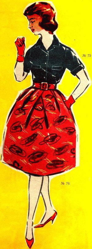 Блузка с клапанами и юбка из репса, мода 1960 год
