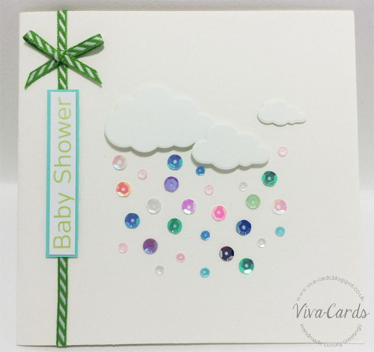 "Handmade Card - ""Baby Shower"" - Sequins & Clouds"