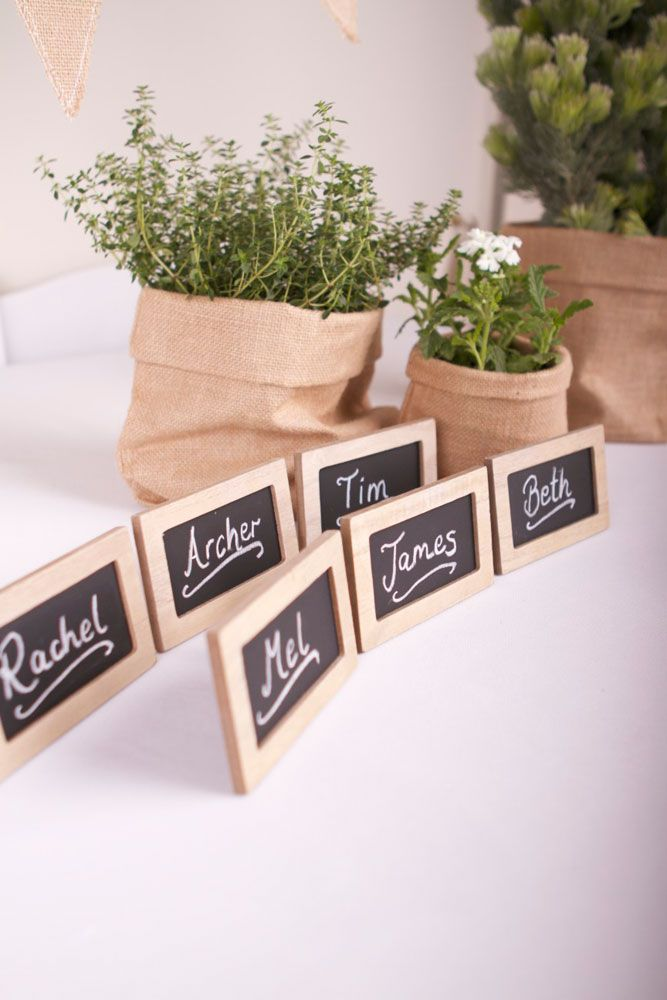 Small Rectangular Chalkboard Placecards in Organic Christmas Theme
