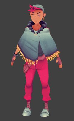 Bonus Shawl less running. So loose clothing is annoying to make work in 3D but I gave it a shot anyways! Here's my herbalist apprentice  http://robopolis.tumblr.com/