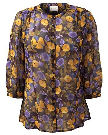 Catrin Blouse Our Catrin Blouse features a flattering Nehru collar, 3/4 sleeves and button detailing on the cuffs. The exclusive floral print adds interest to the garment. Perfect with cord trousers.