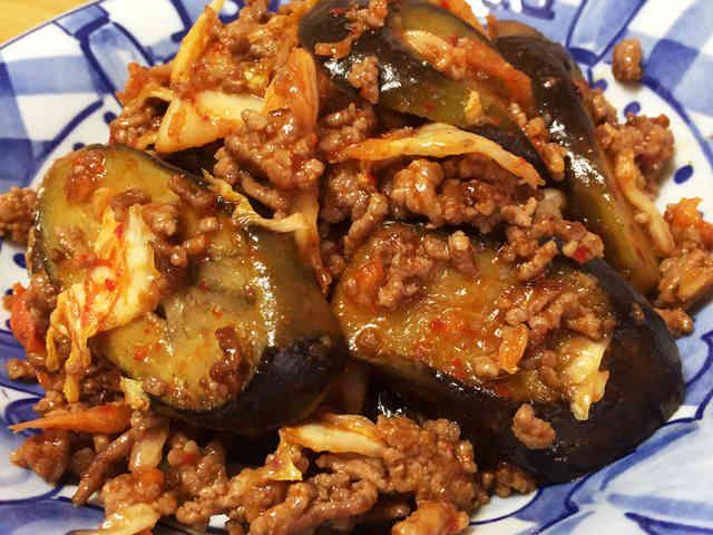 白米に合う☆ひき肉となすの辛旨キムチ炒めの画像
