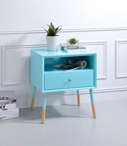 The Sonria II Light Blue End Table Offers A Contemporary Take On A Stylish  Retro Design