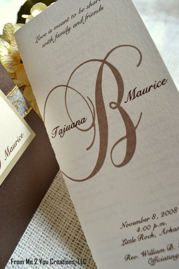 Metallic Brown Champagne Gold Cream Monogram Wedding Program Cardstock Weight