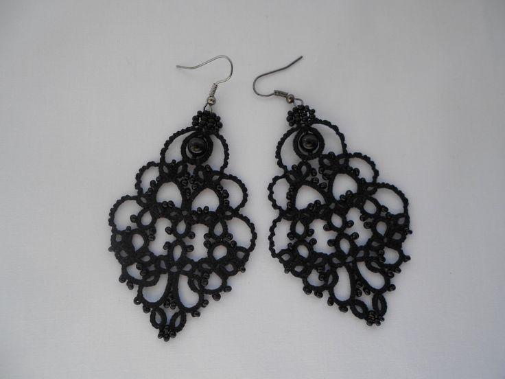 Black lace earrings black earrings with от TattingLaceJewellery