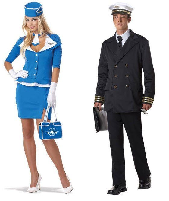 Retro Pilot & Stewardess Couples Costumes