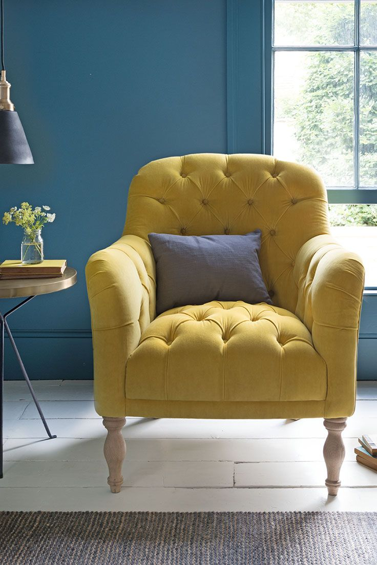 READER ARMCHAIR armchair, yellow armchair, chair, upholstered chair, upholstery, button chairs, deep buttoned chair, button, upholstery, blue, yellow, blue and yellow, colour clash, furniture, bright, bright interiors, bright homewares, colour pop, clash, burst, bright interiors, bumblebee, blue cushion