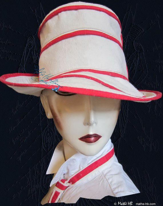 chapeau chic d'été lin sable écru et rouge taille 58-59