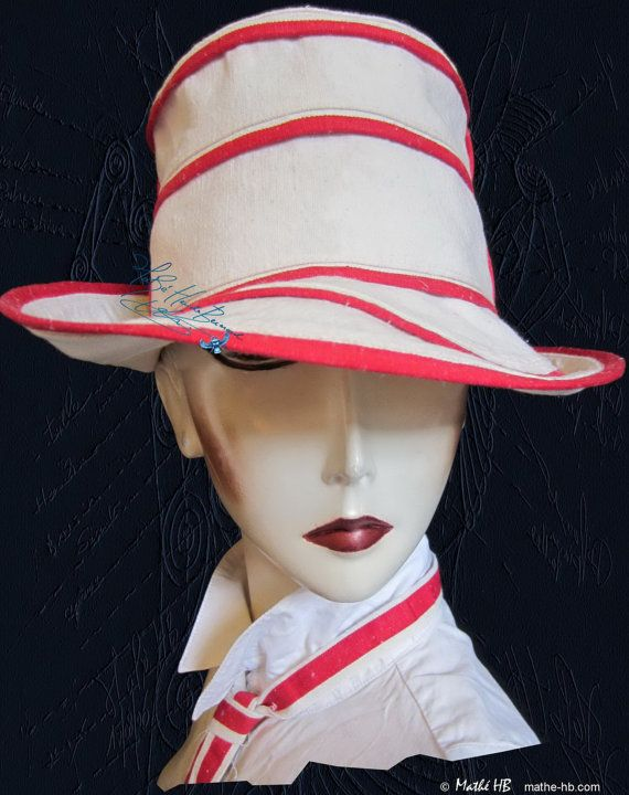 summer hat to order sand white and red linen sea par MatheHBcouture