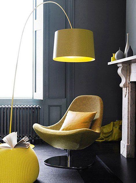 Love that yellow lamp, gray room, white trim.