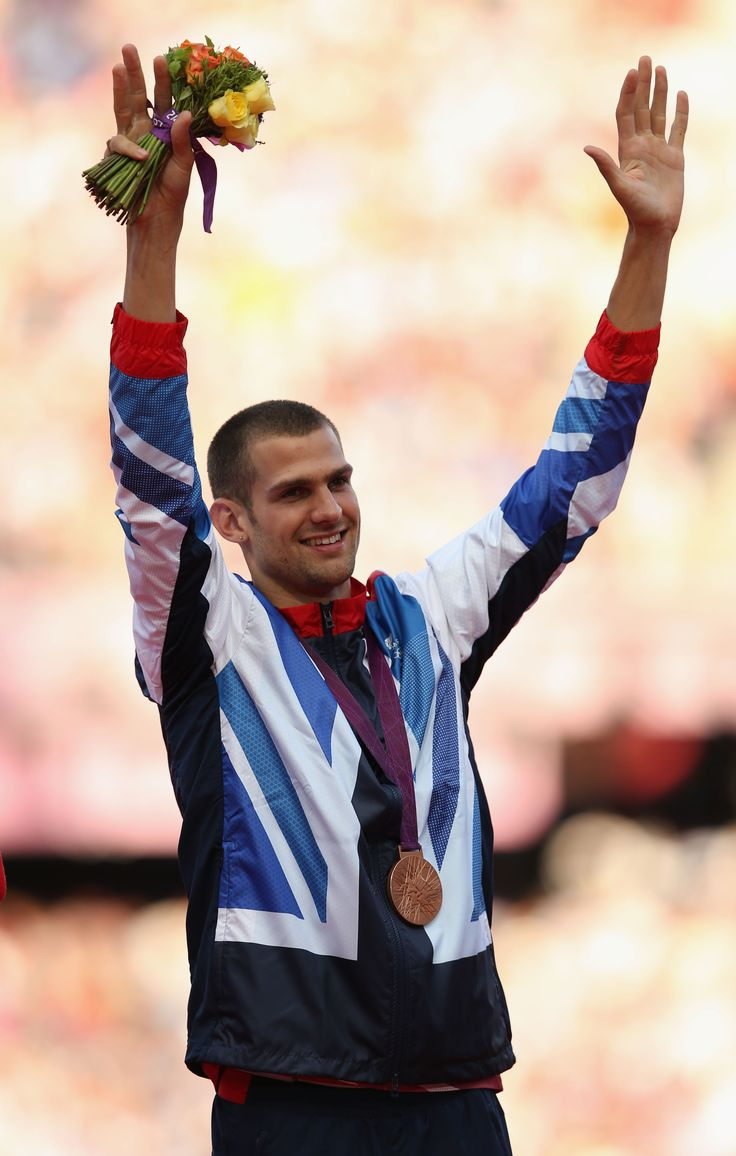 Robbie Grabarz celebrating his bronze medal in high jump at London 2012