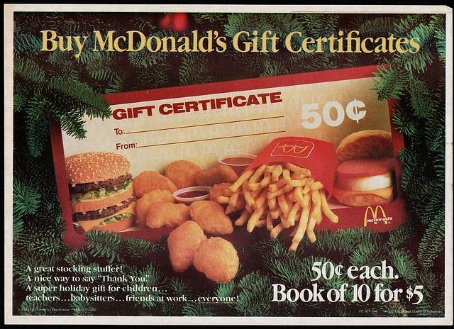 christmas gift mcdonalds certificate certificates 1984 stocking trayliner placemat stuffer flickr mcdonald paper halloween ads past retro cards memories c2