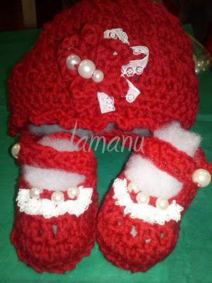 lamanu lana: Cappellino e scarpette neonata rosso Natale