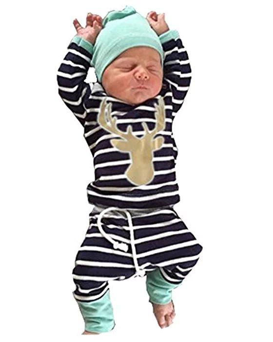 3pcs/Set Newborn Baby Boy Girl Striped Long Sleeve Deer Tops Pants + Hat Outfits