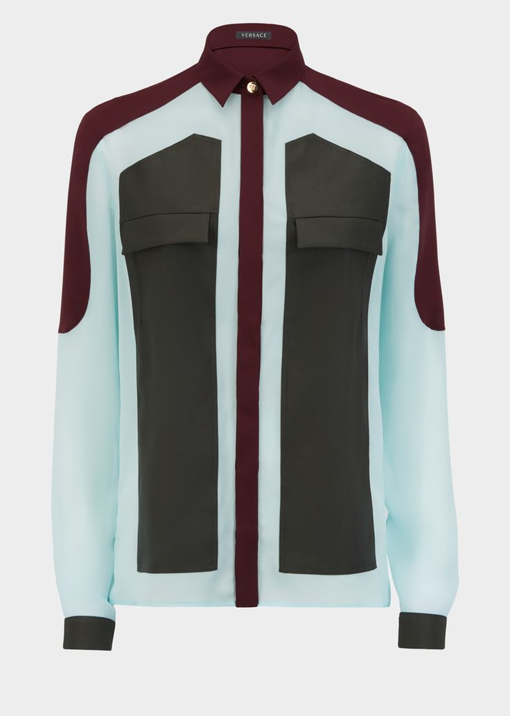 Versace Contrast Panel Silk Shirt for Women | UK Online Store. Contrast Panel Silk Shirt from Versace Women's Collection. Fine silk Georgette button up, collared shirt with contrast color panels, front pocket details and top metal button.