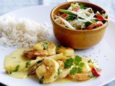 Scampi's met Thaise curry - Libelle Lekker! met rode paprika, wortel, brocoli, sojascheuten, citroengras, gember, kokosmelk...