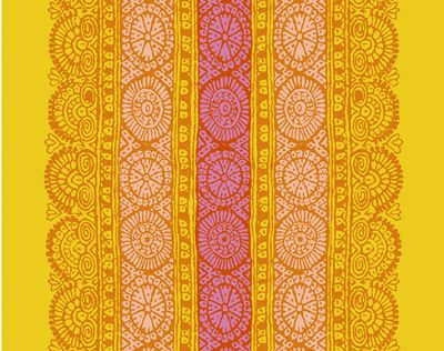 Orange, coral, and deep pink on deep yellow. It was originally designed by Maija Isola in 1960. Maija's designs were inspired by traditional folk art, modern visual art, nature and by her trips around the world.