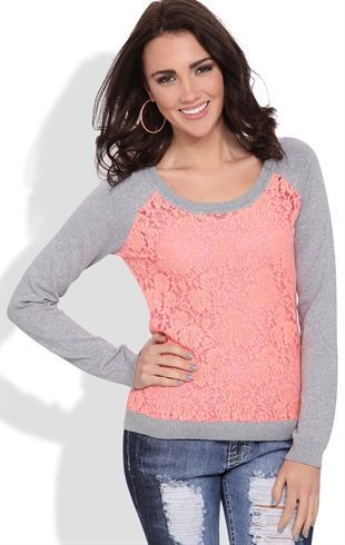 Deb Shops Raglan Sweater with Floral Lace Body and Crew Neckline $20.00